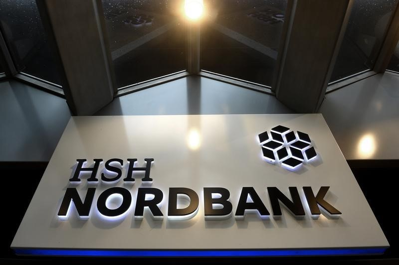 The HSH Nordbank is pictured in downtown Hamburg, October 25, 2014.          REUTERS/Fabian Bimmer
