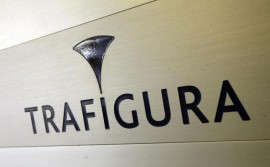 Trafigura logo is pictured in the company entrance in Geneva March 11, 2012.  REUTERS/Denis Balibouse
