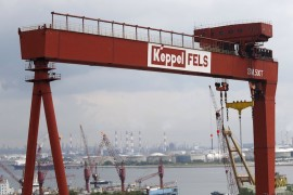 A view of a Keppel Corporation shipyard in Singapore January 19, 2016. Singapore's Keppel Corporation Ltd said on Thursday its fourth-quarter net profit fell 44 percent and its 2015 profit dropped to a five-year low as plunging oil prices hit demand for offshore rigs. Picture taken January 19, 2016.  REUTERS/Edgar Su