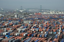 Bird's Eye view of APL terminal in Port of L.A./Long Beach.