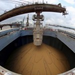 Soybeans ease on Brazilian exports, improving Argentine weather