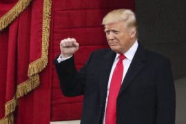 Copyright 2017 The Associated Press. All rights reserved. This material may not be published, broadcast, rewritten or redistributed without permission. Mandatory Credit: Photo by Andrew Harnik/AP/REX/Shutterstock (7936201u) President-elect Donald Trump pumps his fist as he arrives during the 58th Presidential Inauguration at the U.S. Capitol in Washington Trump Inauguration, Washington, USA - 20 Jan 2017