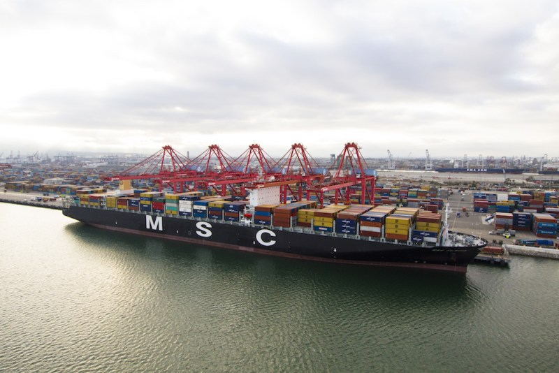 The MSC Flavia is docked at Pier T in the Port of Long Beach.