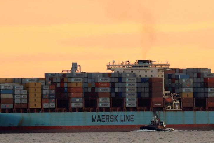 The Maersk ship Adrian Maersk is seen as it departs from New York Harbor in New York City, U.S., June 27, 2017. REUTERS/Brendan McDermid