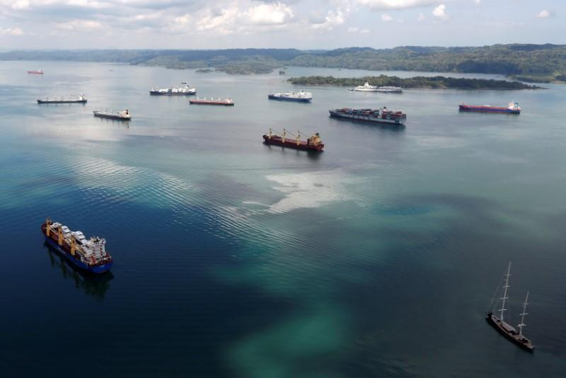 FILE PHOTO: Cargo ships navigate the Panama Canal during an organized media tour by Italy's Salini Impregilo, one of the main sub contractors of the Panama Canal Expansion project, on the outskirts of Colon city, Panama May 11, 2016.  REUTERS/Carlos Jasso/File Photo