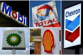 FILE PHOTO - A combination of file photos shows the logos of five of the largest publicly traded oil companies; BP, Chevron, Exxon Mobil, Royal Dutch Shell, and Total.  REUTERS/File Photo