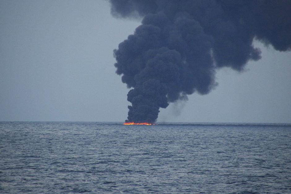 Flames and smoke from the Iranian oil tanker Sanchi is seen in the East China Sea, on January 15, 2018 in this photo provided by Japan's 10th Regional Coast Guard. 10th Regional Coast Guard Headquarters/Handout via REUTERS