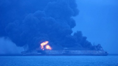 The Panama-registered Sanchi tanker is seen ablaze in open waters, after colliding with a Chinese bulk ship,  January 7, 2018. Korea Coast Guard/Yonhap via REUTERS ATTENTION EDITORS - THIS IMAGE HAS BEEN SUPPLIED BY A THIRD PARTY. SOUTH KOREA OUT. NO RESALES. NO ARCHIVE.