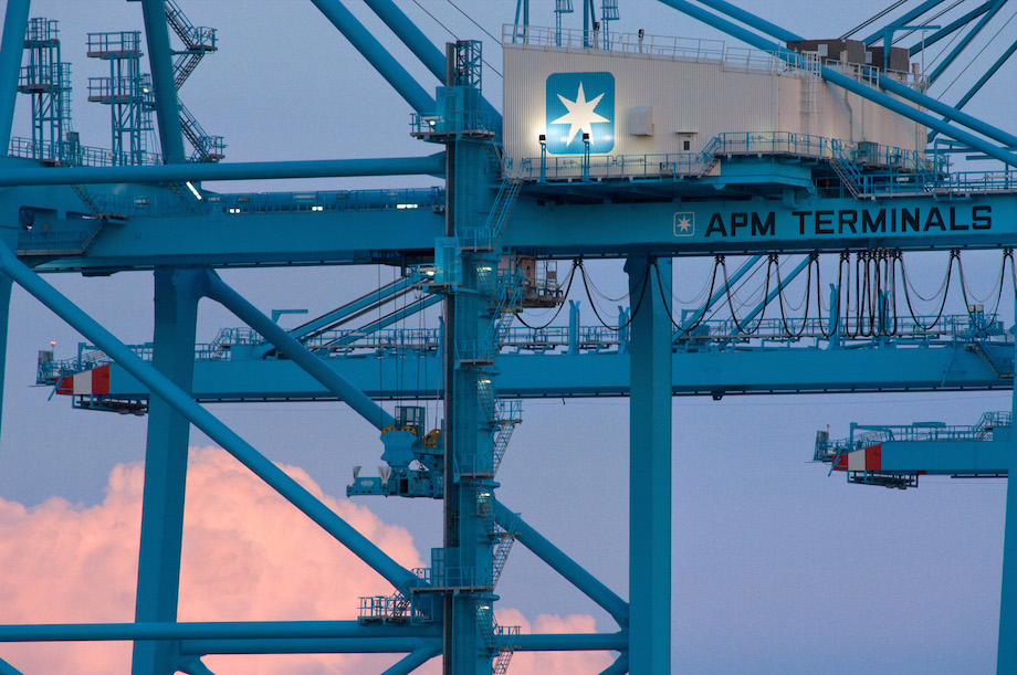 APM Terminals Virginia cranes at sunset 7/26/07