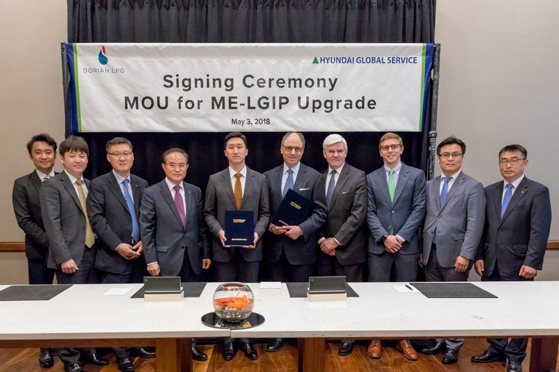 Dorian LPG and Hyundai Global Service Enter into MOU to Retrofit up to 10 VLGCs to use LPG as fuel. (PRNewsfoto/Dorian LPG Ltd.)