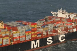 FILE PHOTO: A handout aerial photo made available by the Dutch Coastguard on January 3, 2019 shows the container ship MSC ZOE. Dutch Coastguard/Handout via REUTERS