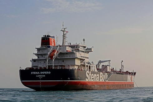 Stena Impero, a British-flagged vessel owned by Stena Bulk, is seen at Bandar Abbas port, July 21, 2019. Picture taken July 21, 2019.  Iran, Mizan News Agency/WANA Handout via REUTERS ATTENTION EDITORS - THIS IMAGE WAS PROVIDED BY A THIRD PARTY.