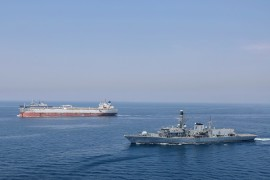 Credit: LPhot Rory Arnold Pictured here is Type 23 Frigate HMS MONTROSE (front) and Type 45 Destroyer HMS DUNCAN (rear) escorting the Tanker HELLESPONT PRIDE through international shipping lanes in the Gulf.  Nearly six million tonnes of British shipping has been safeguarded by the Royal Navy in the first two months of protecting vessels from Iranian aggression. Nearly 90 British merchant ships were safely shepherded through the Strait of Hormuz by frigate HMS Montrose and destroyer HMS Duncan during a hectic two months responding to threats by Teheran. Montrose passed through the narrow gateway to the Gulf 38 times – each time harassed by Iranian forces, from radio taunts and drones watching every move overhead through to Revolutionary Guards wielding rocket launchers and fast missile boats racing up menacingly. The Plymouth-based frigate, which completed the first phase of its escort duties on Thursday [AUG 29], was forced to fire flares on more than a dozen occasions as she warned off the Iranian forces. The ship prevented the Iranians seizing the British Heritage, performing a 'handbrake turn' at full speed and training all her guns on the tanker's harassers. But just nine days later Iranian troops succeeded in hijacking the Stena Impero while Montrose was helping to protect other shipping half an hour away.
