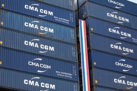 Shipping containers sit stacked on board the upper deck of container ship Antoine de Saint Exupery, operated by CMA CGM SA, at the port of Le Harve, France, on Thursday, Sept. 6, 2018. France is benefiting from solid economic expansion in the euro zone after years of European Central Bank stimulus, and a trade dispute with the U.S. that could have led to higher tariffs seems to have subsided for now. Photographer: Christophe Morin/Bloomberg